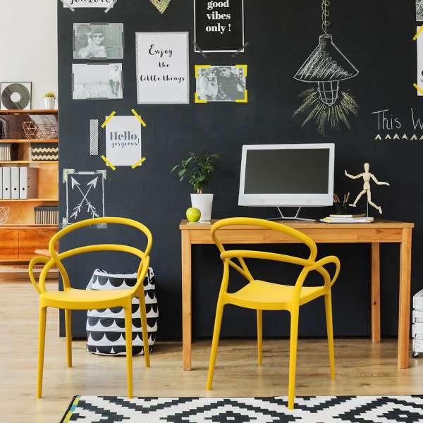 Fauteuil jaune de jardin design en polypropylène - Mila - 14