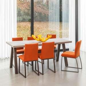 Table de salle à manger moderne en stratifié et métal - Queen