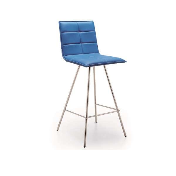 Tabouret snack design en synthétique bleu et métal chromé - Gliris - 1