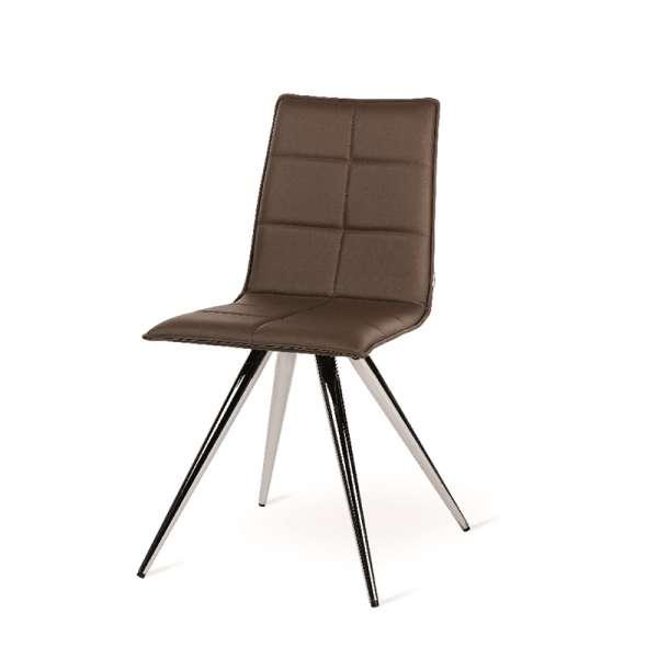 Chaise de salle à manger moderne en synthétique marron et métal chromé - Gliris - 2