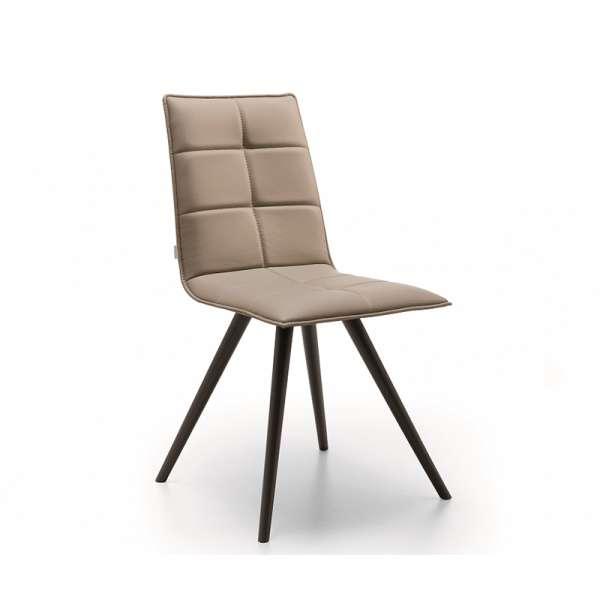 Chaise de salle à manger moderne en synthétique sable et métal noir - Gliris - 1