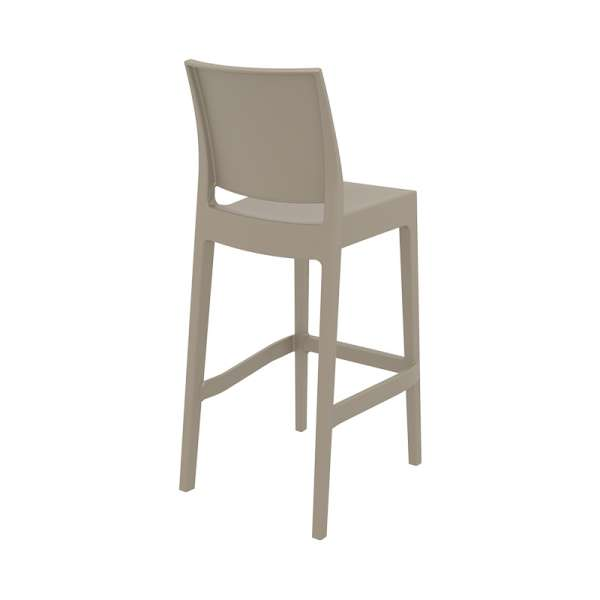 Tabouret de bar empilable en plastique taupe- Maya - 18