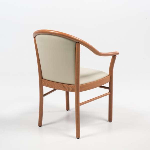 Fauteuil beige en bois avec assise et dossier rembourrés - Manuela - 11