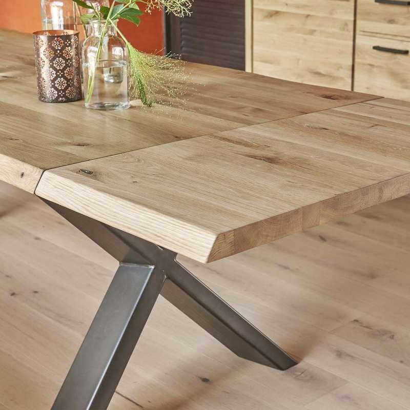 Table Extensible Chene: Table Extensible Rectangulaire En Chêne Massif Et Métal