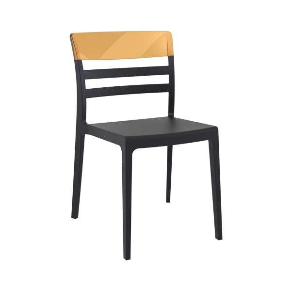 Chaise moderne empilable en polypropylène noir et polycarbonate ambre - Moon - 7