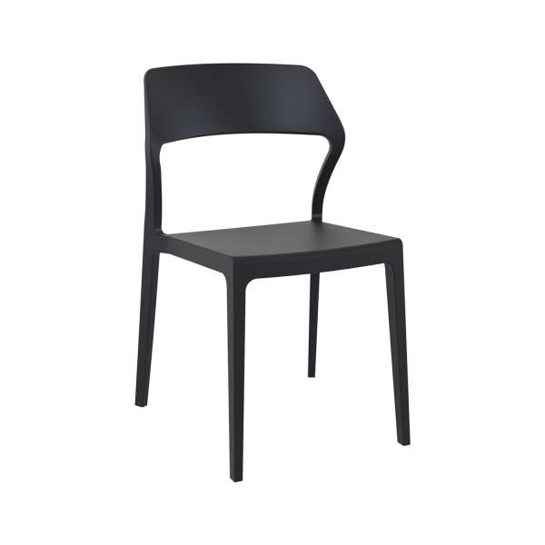 Chaise empilable design en polypropylène noir - Snow - 8
