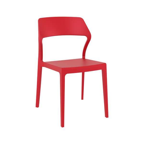 Chaise empilable design en polypropylène rouge - Snow - 15