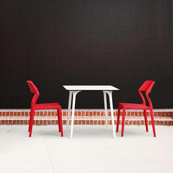 Chaise empilable design en plastique rouge - Snow - 7
