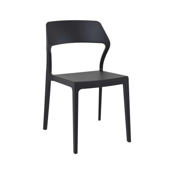 Chaise d'extérieur empilable design en polypropylène noir - Snow - 7