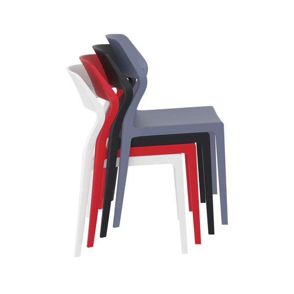 Chaise d'extérieur empilable design en polypropylène - Snow - 20