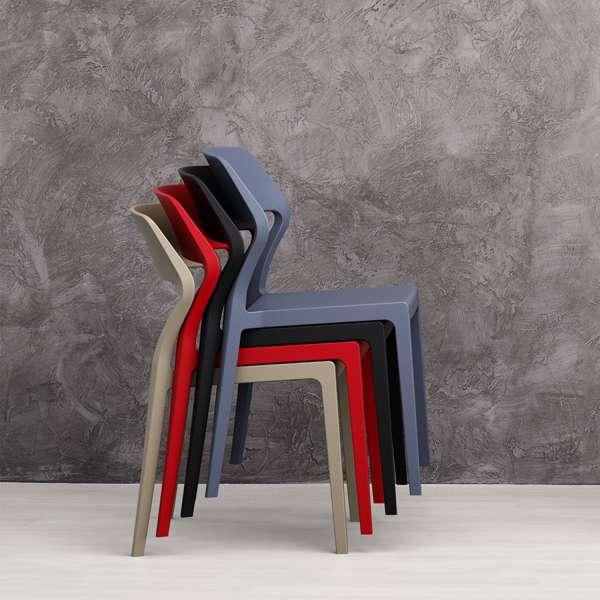 Chaise d'extérieur empilable design en polypropylène - Snow - 4