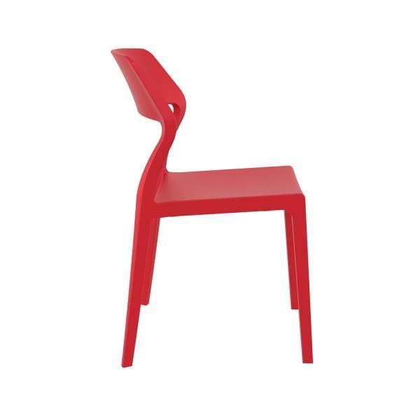 Chaise d'extérieur empilable design en plastique rouge - Snow - 6
