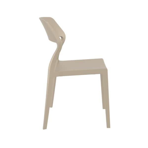 Chaise d'extérieur empilable design en polypropylène taupe beige - Snow - 15