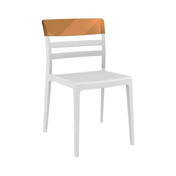 Chaise empilable en polypropylène blanc et polycarbonate ambre transparent- Moon - 18