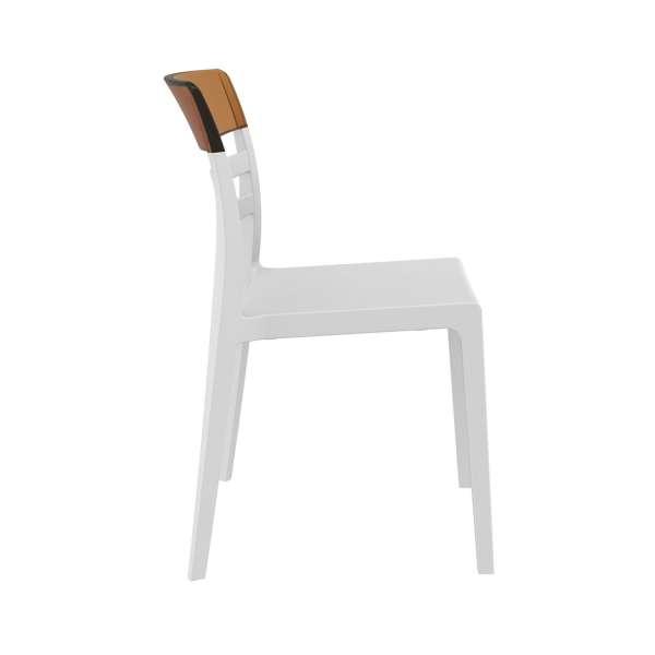 Chaise en polypropylène blanc et polycarbonate ambre transparent- Moon - 19