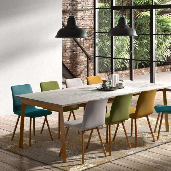 Table avec allonge en stratifié effet céramique et métal - Victoria - 2