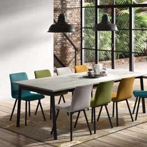 Table avec allonge en stratifié effet marbré et métal - Victoria