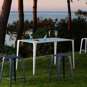 Table snack industrielle rectangulaire pour jardin en métal blanc - Valence