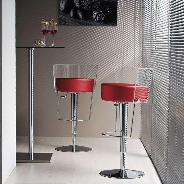 Tabouret réglable design Bongo Midj en synthétique rouge dossier transparent et acier chromé - Bongo Midj® - 1
