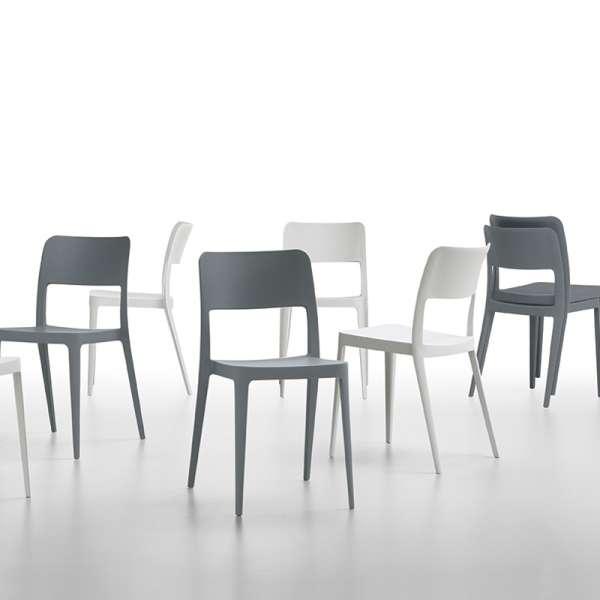 Chaise moderne en polypropylène blanc et gris empilable - Nené Midj® - 2