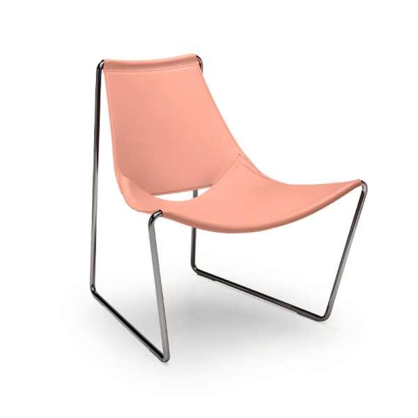 Chaise transat design en croûte de cuir rose et métal chromé - Apelle Midj® - 2