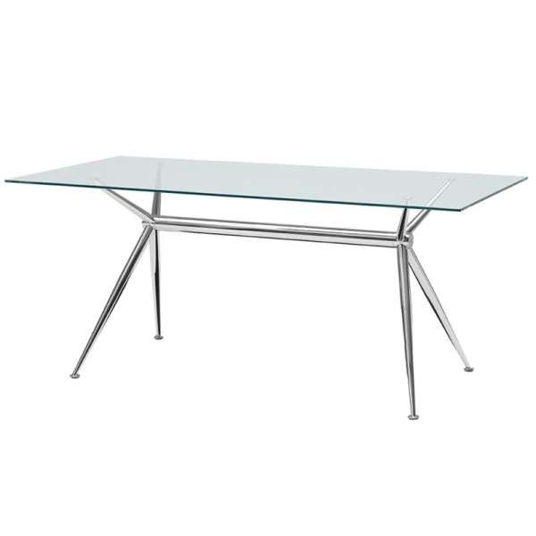 Table en verre transparent design avec pieds en x métalliques chromés - Brioso Midj® - 5