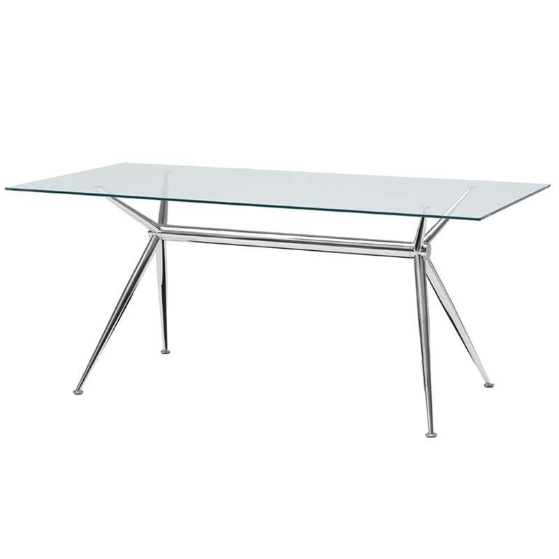 Table en verre design avec pieds en x m talliques brioso Table en verre design