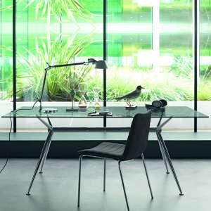 Table en verre design avec pieds en x métalliques chromés - Brioso Midj®