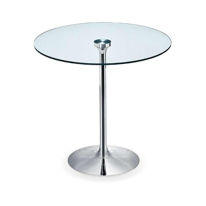 table ronde pied central en verre et m tal infinity midj. Black Bedroom Furniture Sets. Home Design Ideas