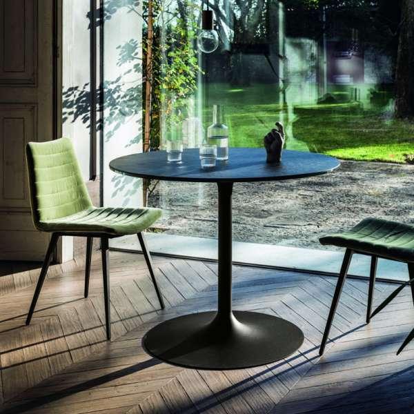 Table ronde pied central design en céramique et métal - Infinity Midj® - 1