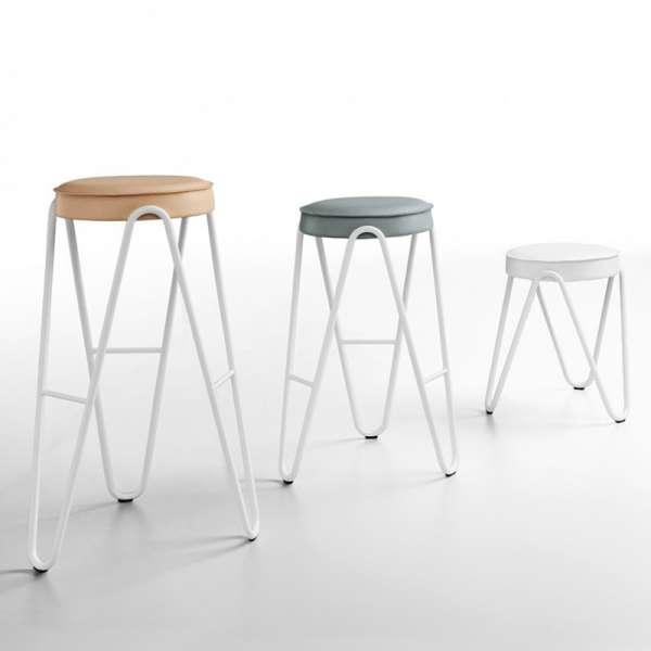 Tabouret design sans dossier assise synthétique pieds géométriques - Jump Apelle Midj® - 2