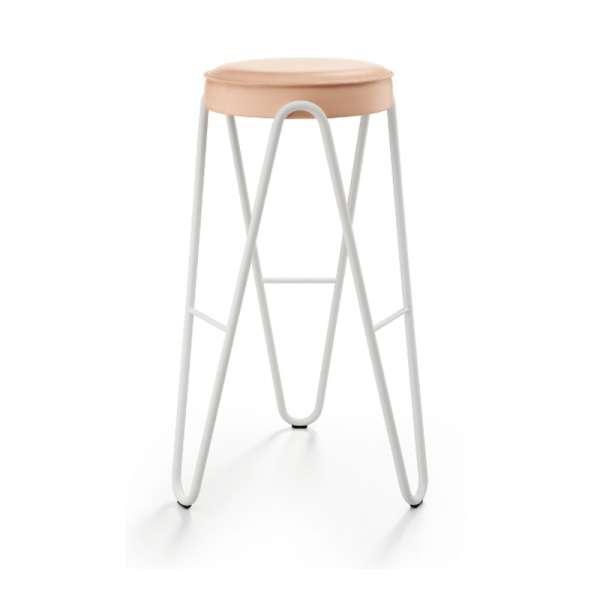 Tabouret hauteur 65 cm design sans dossier assise synthétique pieds géométriques teinte blanche - Jump Apelle Midj® - 3