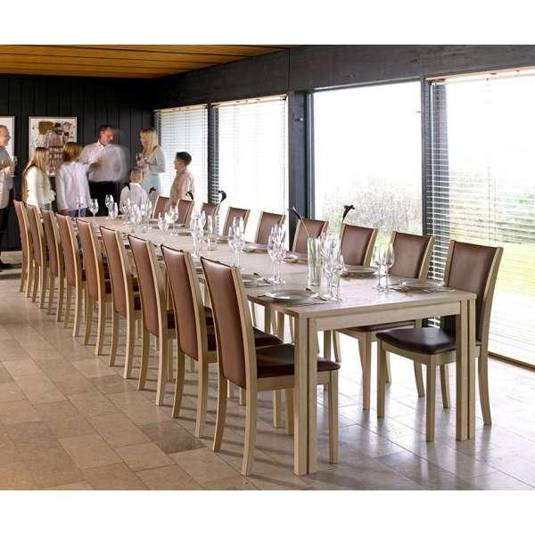 Grande table scandinave rectangulaire en bois clair avec allonges - SM 23 -24 - 12