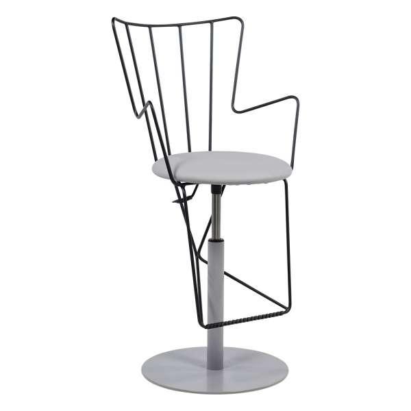 Tabouret design réglable en synthétique gris et métal noir - Well - 4