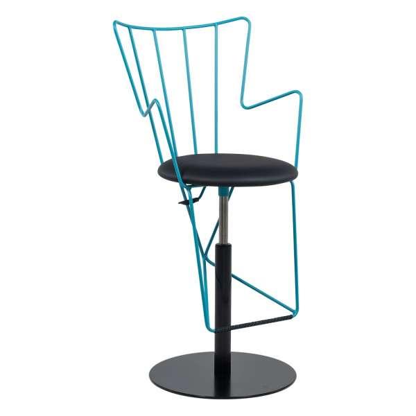 Tabouret design réglable en synthétique noir et métal turquoise - Well - 2