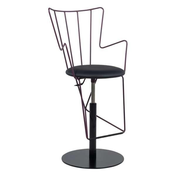 Tabouret design réglable en synthétique noir et métal violet raisin - Well - 3