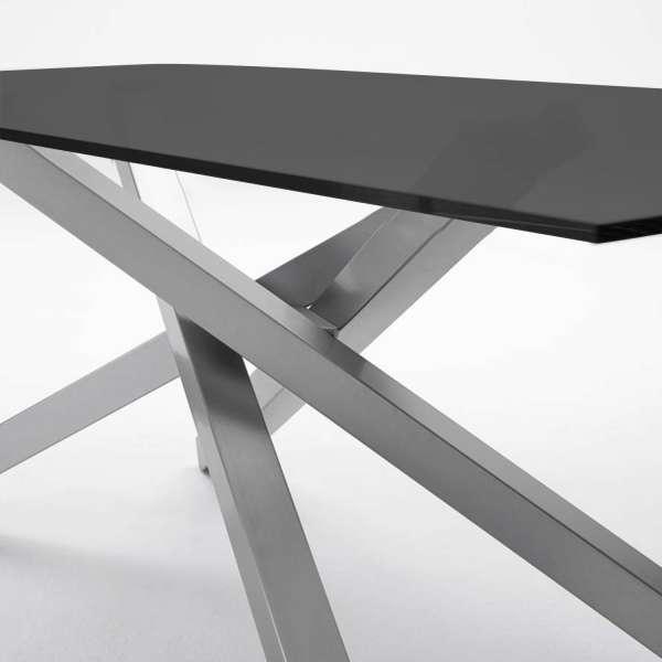 able design en verre trempé noir et piétement mikado en métal satiné - Péchino Midj® - 2