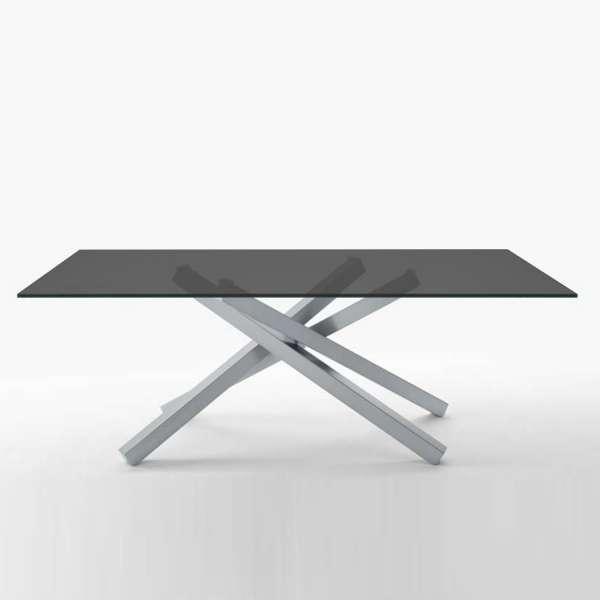 able design en verre trempé graphite et piétement mikado en métal satiné - Péchino Midj® - 1