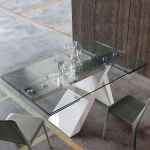 Table design avec allonges en verre et bois laqué blanc - Ikarus