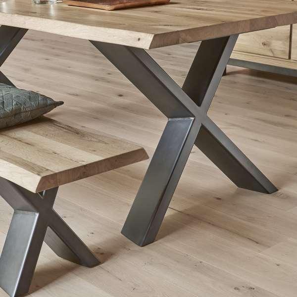 Table de salle à manger moderne extensible en chêne massif et métal pieds en x - Carte - 5