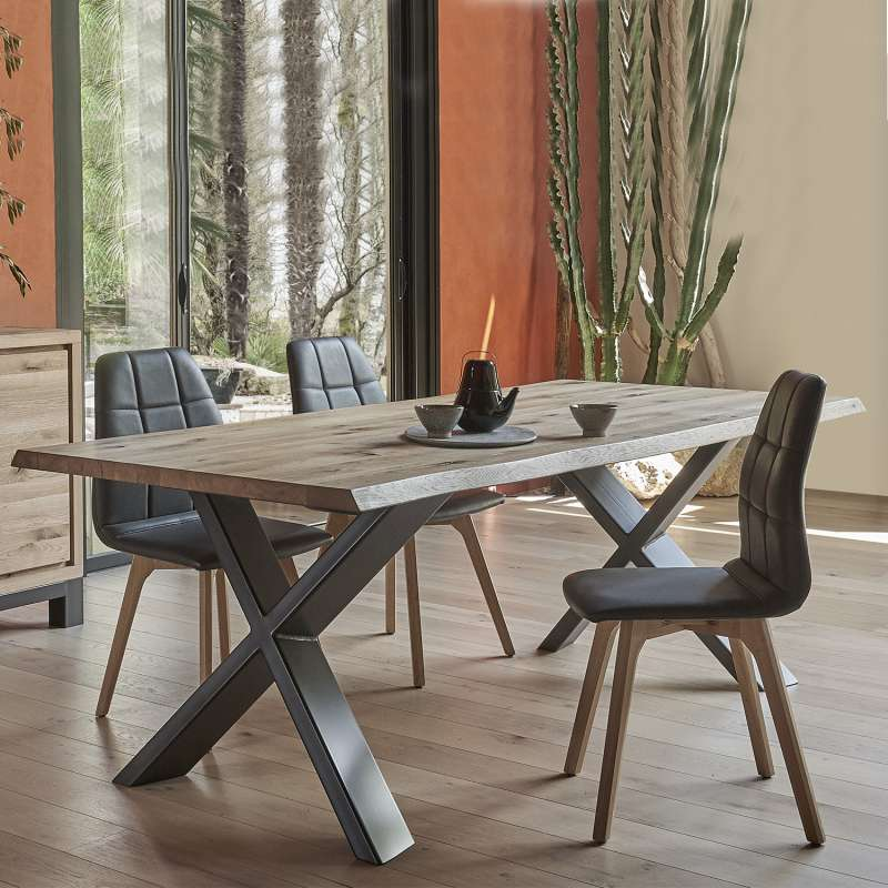 table de salle manger moderne extensible en ch ne massif. Black Bedroom Furniture Sets. Home Design Ideas
