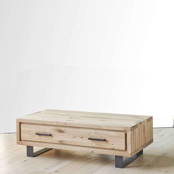Table basse moderne avec tiroir en chêne massif et métal - Oregon - 1