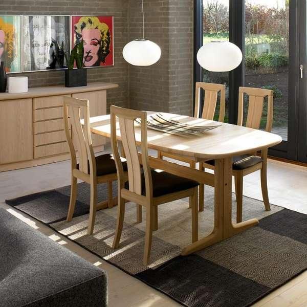 Table en bois massif clair style scandinave elliptique avec allonges - SM 74 - 3