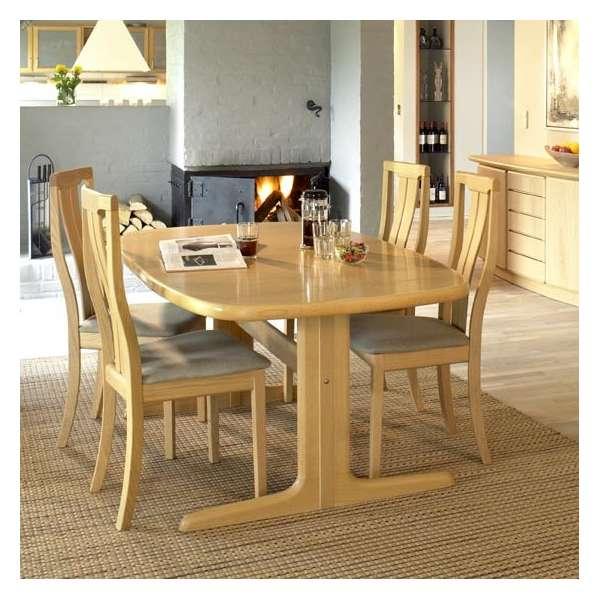 Table scandinave elliptique en bois avec allonges - SM 74 - 4