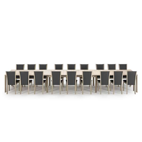 Table ultra extensible scandinave rectangulaire en bois clair avec allonges - SM23 -24 - 21
