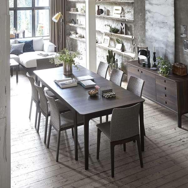 Table de salle à manger scandinave en bois foncé extensible - SM26-27 - 7