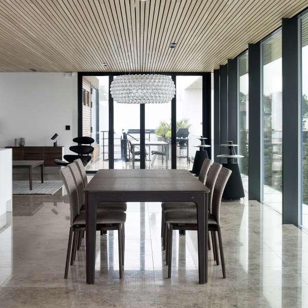 Table scandinave en bois foncé avec allonges - SM26-27 - 8