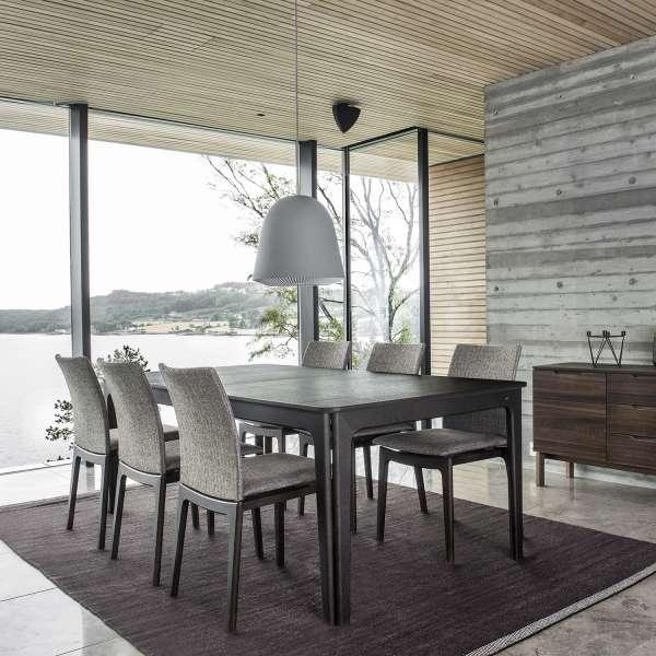 Table de salle à manger scandinave en bois foncé avec allonges - SM26-27 - 6