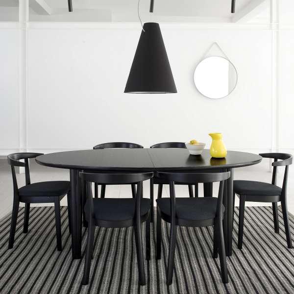 Table ovale en bois noir style scandinave extensible - SM78 - 4