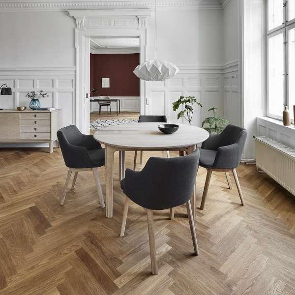 Table ronde scandinave en bois naturel avec allonges - SM112 - 4